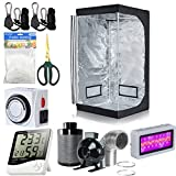 4 can fan filter combo - BloomGrow 32''x32''x63'' Grow Tent + 4'' Inline Fan Filter Duct Combo + 300W LED Light + Hangers + Hygrometer + Shears + 24 Hour Timer + Trellis Netting Indoor Grow Tent Complete Kit