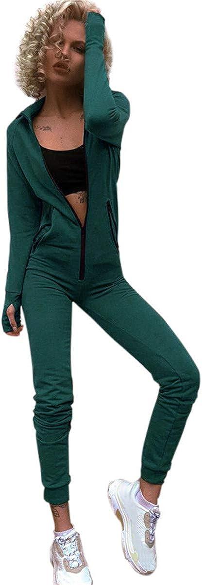 Leepus Fashion Women Hooded Jumpsuit Solid Long Sleeve Zipper Front Casual Sport Workout Suit Green