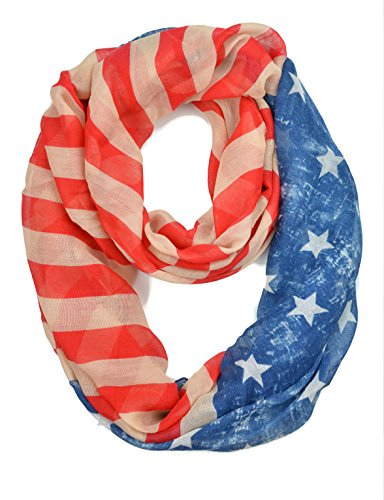 and Stripes Light Weight Infinity Scarf (Faded Glory) (Faded Glory American Flag)