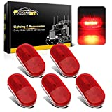 Automotive : Partsam (5) 12V Oval Oblong Red Side Marker Clearance Lamp w/White Base Replacement Light, 4x2 Reflectorized Trailer Led Clearance and side marker lights, Sealed led lights w/reflex lens