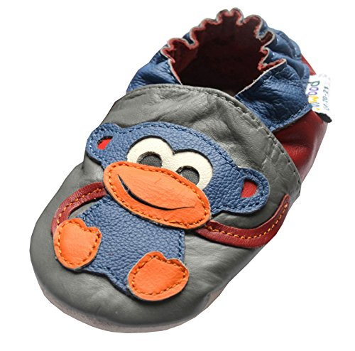 Jinwood designed by amsomo 12 Verschiedene Modelle - Boys - Jungen - Hausschuhe - Echt Leder Lederpuschen - Krabbelschuhe - Soft Sole/Mini Shoes Div. Groeßen 17/19-35/36 monkey grey mini shoes