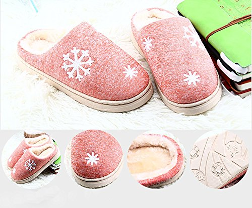 Femmes Hiver Coton Chaussures Pantoufles À Peluche Chaussons Homme Lijeer Antidérapantes L'usure Doublé Maison Résistant Glisser Warm Chaud Orange Eagsouni BnfqFxq