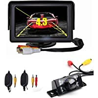 CISNO 4.3 LCD Car Rear View Monitor+Wireless Reverse 7 Led IR Night Vision Waterproof Licence Plate Camera Kit