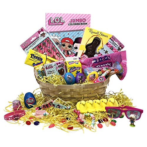 Easter Gift Basket - Premade LOL Easter Basket For Kids, Boys, Girls - Filled with Easter Eggs, Candy, Chocolate - Great Easter Care Package for Family and Friends
