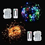 Viewpick 2 Pack(Including 2 Colors:Warm White and Multicolored) 50LEDs on 5M Copper Wire Fairy String Lights with Remote Control AA Battery Lights for Indoor Outdoor Wedding Party Handcrafting