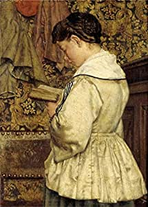 'Henri De Braekeleer - Gril Reading, about 1870' oil painting, 12x17 inch / 30x42 cm ,printed on Linen Canvas ,this Amazing Art Decorative Canvas Prints is perfectly suitalbe for Home Theater artwork and Home decor and Gifts