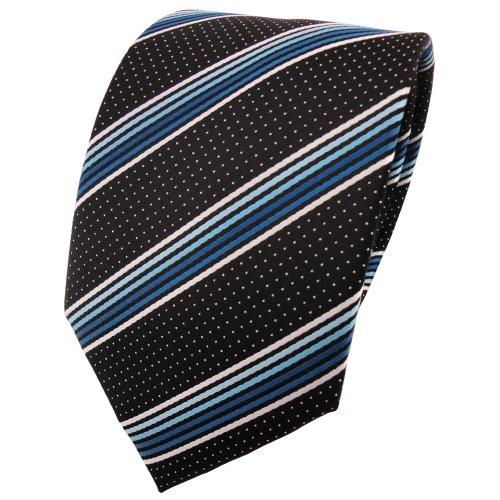 TigerTie cravate en turquoise bleu argent blanc noir rayé - Tie
