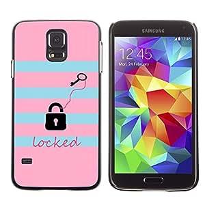 LECELL--Funda protectora / Cubierta / Piel For Samsung Galaxy S5 SM-G900 -- Locked Key Pink Teal Pattern Text --