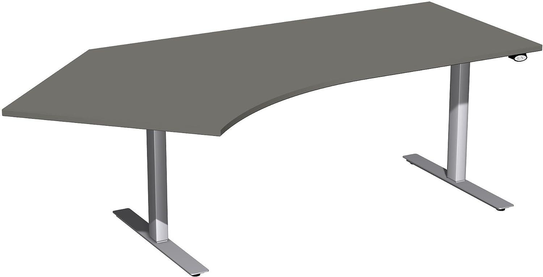 Geramöbel Elektro-Hubtisch 135° links höhenverstellbar, 2166x1130x680-1160, Graphit/Silber