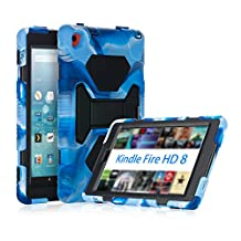 Fire HD 8 Case(2016), ACEGUARDER 3 in 1 Hybrid [Kids Proof][Shockproof][Drop Resistance] Full Body Protective Stand Cover with Tempered Glass Screen Protector for Amazon Fire HD 8 (Navy black)