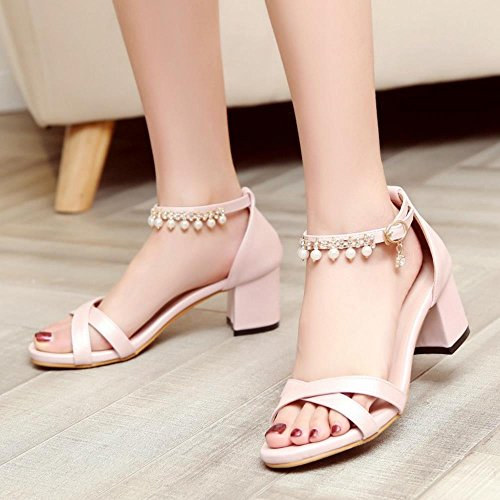 COOLCEPT Mujer Moda Punta Abierta Chunky Heel Sandalias Elegant Al Tobillo Zapatos with Pearl Rosado