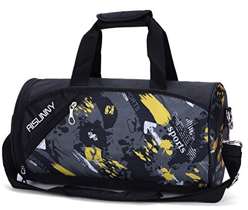 Cheap RISUNNY Barrel Gym Bag Sports Duffel Bags with Shoes Compartment for Men and Women (Black)