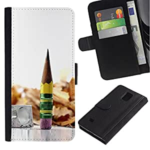 All Phone Most Case / Oferta Especial Cáscara Funda de cuero Monedero Cubierta de proteccion Caso / Wallet Case for Samsung Galaxy Note 4 IV // pencil graphite metal wood