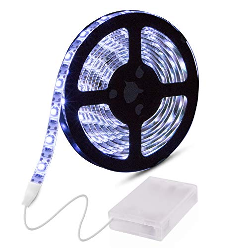 Led Strip Lights Battery Powered, abtong Battery Led Lights Strip Waterproof Led Lights Battery Operated Flexible Ribbon Lights, 120leds Cool White-2M/6.56ft