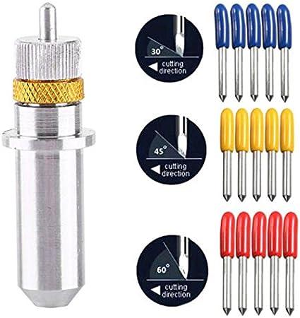 15 pcs 30/45/60 ° Cricut vinilo Plotter cuchillas de corte para Roland localizador + 1 x Roland soporte de hoja: Amazon.es: Bricolaje y herramientas
