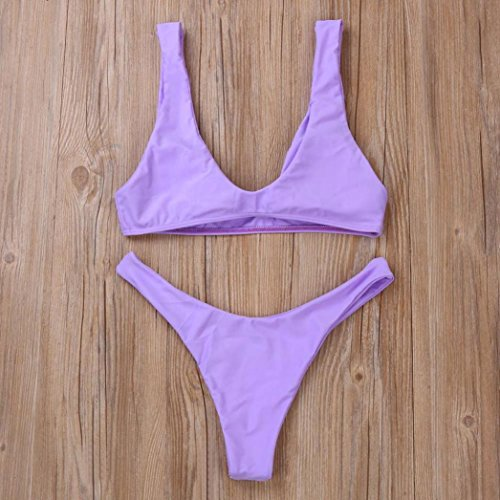 Tongshi Mujeres Push-Up Acolchado Bra Bikini Set Traje De Baño Traje De Baño Beachwear Púrpura