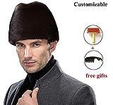 Okayda Men's Russia Noble Real Mink Fur Hat Fashion Gentleman Winter Cap Coffee S
