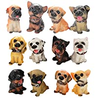 HanYoer 12 pcs Lovely Dogs Animal Characters Toys Figurines Playset, Garden Cake Decoration, Cake Topper