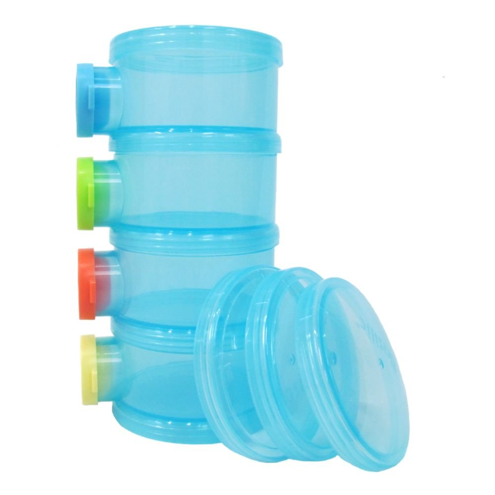 Basilic Baby Formula Dispenser/Milk Powder Container/Snack Storage/Pot - 4 Compartment (Blue) by Basilic