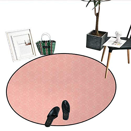 Peach Round Area Rug Soft Colored Background with Crowns and Floral Abstract Motifs with Faded Look Monochrome Perfect for Any Room, Floor Carpet (47