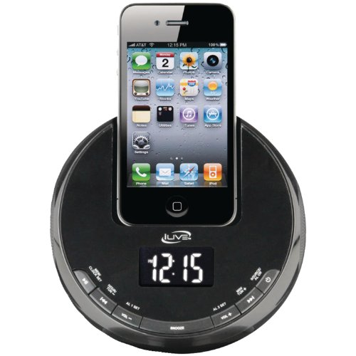 iLive iCP101B 30-Pin iPod/iPhone Alarm Clock Speaker Dock - Not compatable with iPhone 5 or iPhone 6 (Discontinued by Manufacturer)