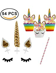 54 Pcs Unicorn Cupcake Toppers Wrappers with Unicorn Gifts and Party Supplies Decorations, Handmade Unicorn Horn Ears Eyelashes Double Sided Cupcake Wrappers and Toppers for Baby Shower, Kids Birthday