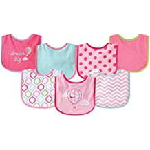 Luvable Friends Unisex Baby Cotton Terry Drooler Bibs with PEVA Back, Pink Balloon, One Size