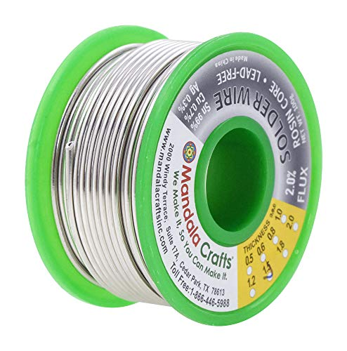 Rosin Core Lead Free Solder Wire for Electrical, Electronic, Connector, PCB Soldering; Sn97 Cu0.7 Ag0.3 1.5mm 100g; By Mandala Crafts;