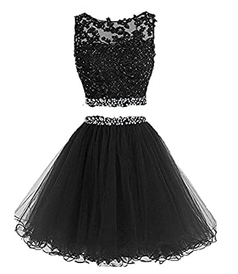 WiWiBridal 2017 Women's Two Piece Prom Dress Short Beading Homecoming Dresses For Juniors WWW002