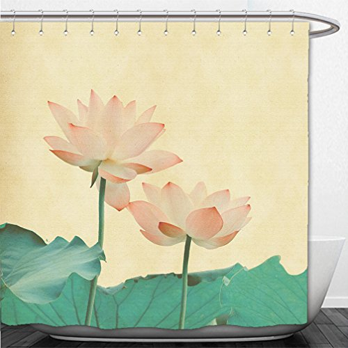 Interestlee Shower Curtain lotus on the old grunge paper background 143739604 (Pch Canopy Bed)