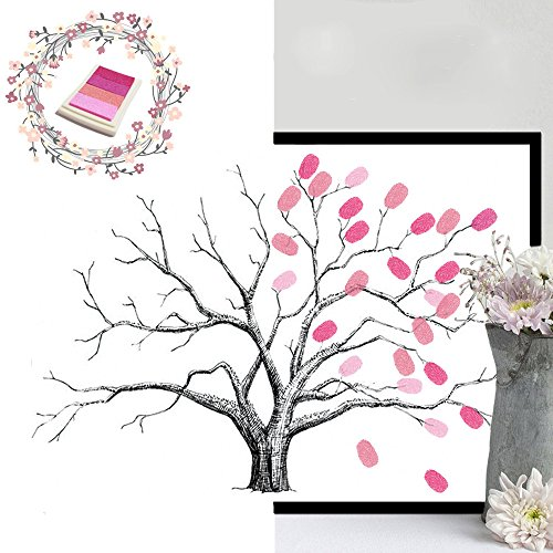 PRALB Canvas Fingerprints Tree,Fingerprint Family Tree,DIY Guest Signature Sign-in Book Canvas Fingerprints Tree Painting for Wedding Birthday Family Party