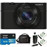 Sony DSC-RX100/B 20.2 MP Exmor CMOS Sensor Digital Camera with 3.6x Zoom Deluxe Bundle
