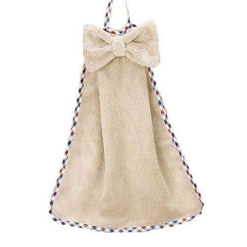 Moolecole Cute Bow-knot Pattern Absorbent Hanging Hand Towels Kitchen Dish (Hanging Dish Warmer)