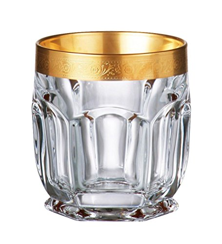 Bohemia Crystal - Safari Gold Old Fashion Tumbler 8.5 oz. Set of 6 by Bohemia