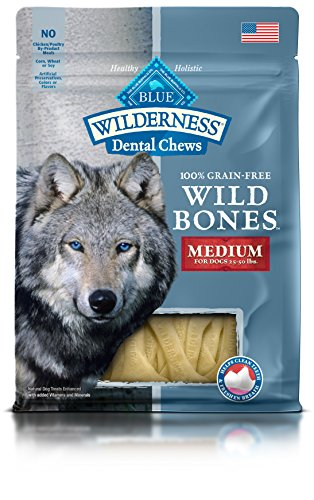 BLUE Wilderness Wild Bones Grain Free Dental Chews, 10 oz., Medium Bones for Dogs Chew Bone Wolf