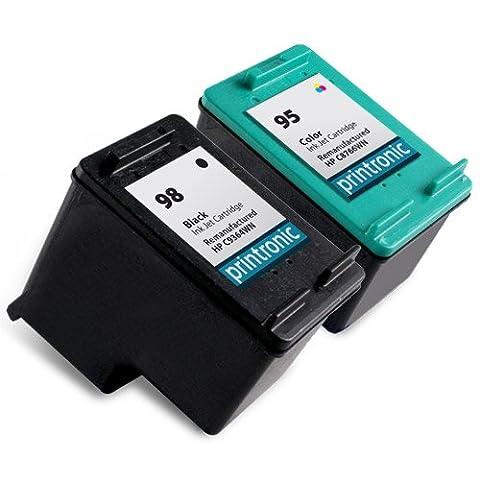 HP 98 C8765WN & HP 95 C8766WN Compatible Remanufactured Combo Pack - Ink Cartridges for HP Photosmart 2570 C4140 2575 C4150 2575v C4180 2575xi C4183 8050 C4188 C4100 D5160 C4110 Deskjet 5940 5940xi Officejet 6310 6310xi Printer- 1 Black/1 (95 98 Hp Ink Cartridge)