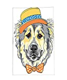 Interestlee Fleece Throw Blanket Animal Cartoon Art Style Animal Theme Cute Dog in Hat and Bow Tie Illustration Light Yellow Light Grey
