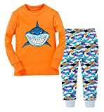 Pandaprincess 'shark' Little Boys 2 Piece Pajama 100% Cotton(2-7years) (4T, orange)