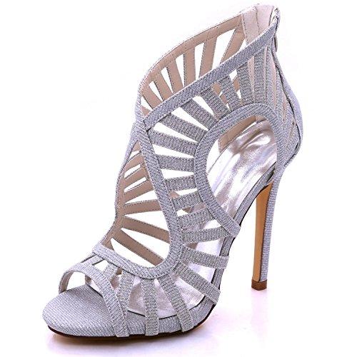 L@YC Tacón Alto 7216-03C del satén de Las Mujeres Abiertas Zapatos Cremallera Nupcial de la Cremallera del Verano Silver