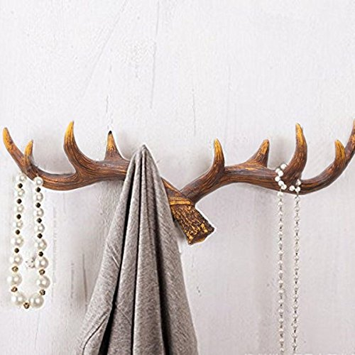 Shabby Chic Deer Antlers Shaped Rack Wall Hooks For Coat/Keys/Hats/Purse/Bag/Jewelry/Towel - Screws Included - Dark (Deer Antlers Rack)