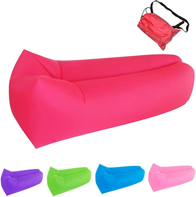 Bry 2017 New Style Inflatable Lounger Air Chair Sofa Bed Lazy Bag Sofa Been Sleeping Sand Beach Lay Bag Couch (Red)