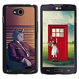 Qstar Arte & diseño plástico duro Fundas Cover Cubre Hard Case Cover para LG OPTIMUS L90 / D415 ( Cat Suit Art Cartoon Character Grey Feline)