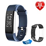 Letsfit Fitness Tracker HR, Activity Tracker Watch with Heart Rate Monitor, IP67 Water resistant Smart Bracelet with Calorie Counter Pedometer Watch for Android and iOS for kids women men,Blue+Black
