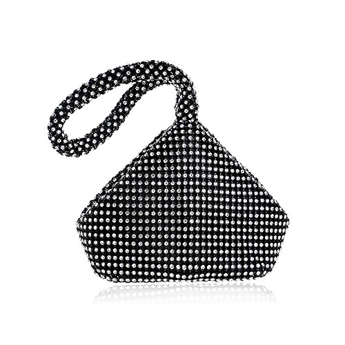 Black Rhinestone Bag Prom Women's Clutch Party Bling Ya Zipper Trihedral Jin Purse Evening Wedding vEOYvTwq