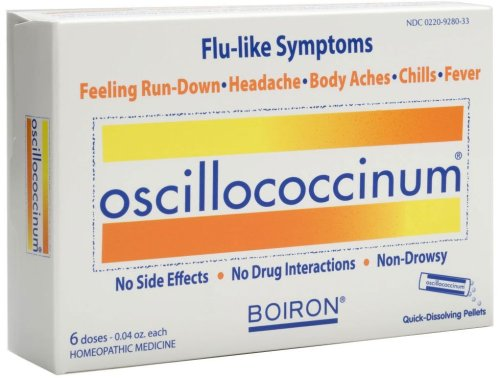 Boiron Homeopathic Medicine Oscillococcinum for Flu- Box of 6x 0.04oz Doses (Pack of 2 boxes)