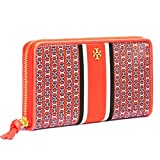Tory Burch Gemini Link Stripe Zip Continental Wallet Jewel Blue Samba Red Court Green (Samba Gemini Link Stripe)