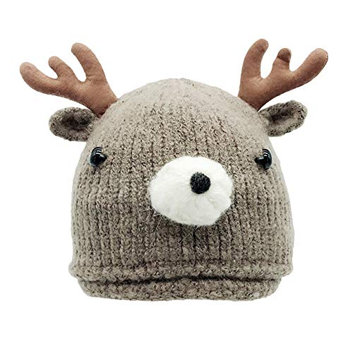 (Amiley Baby Knit Hat,Baby Infant Toddler Kid Winter Deer Horn Crochet Beanie Cap (Khaki))
