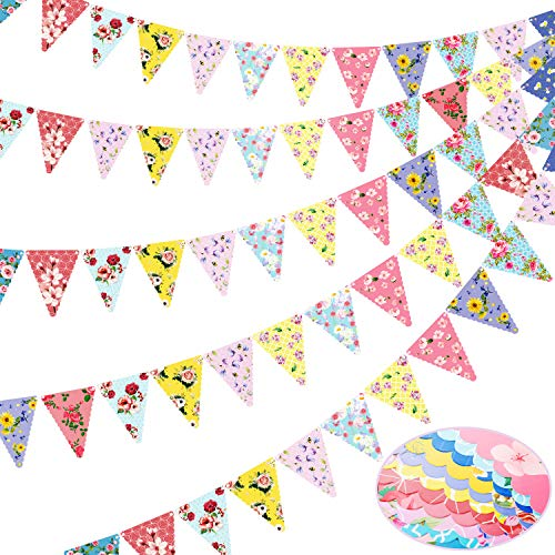 36 Pieces Floral Triangle Flags Tea Party Banner Bunting Party Decorations 12 Designs Vintage Hanging Garland for Tea Party, Wedding, Birthday, Baby Shower, Multicolors, 28 Feet in Total