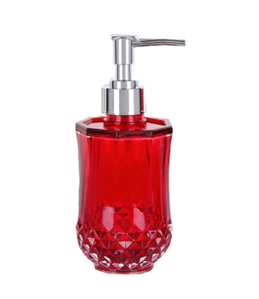 Peacewish Creative High Capacity Acrylic Glass Bathroom Soap Dispenser Press Hand Sanitizer Shower Gel Bottles (Red)