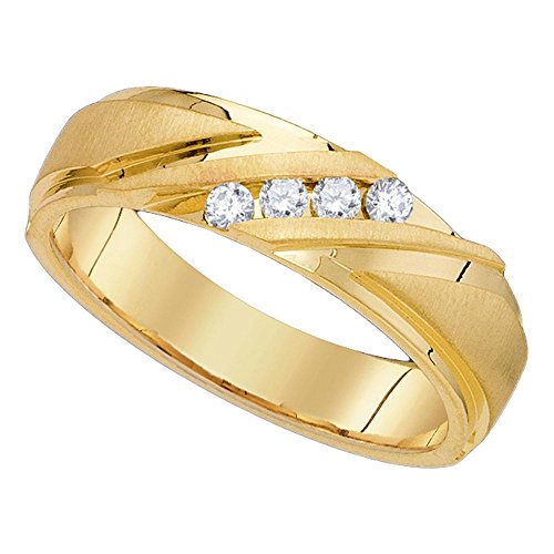 GemApex Mens Four Stone Diamond Wedding Band Solid 10k Yellow Gold Ring Round Channel Satin & Polished 1/4 ctw